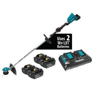 Makita XRU09PT1 18V X2 (36V) LXT Lithium-Ion Brushless Cordless String Trimmer Kit with 4 Batteries (5.0Ah), Teal
