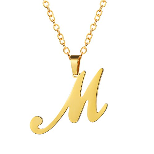 18k Gold Pendant Necklace - PROSTEEL Gold Letter Necklace 18K Plated Pendant Chain Initial M Monogram Jewelry Men Women Personalized Friendship Bridesmaid Gift Minimalist Alphabet Name Necklace
