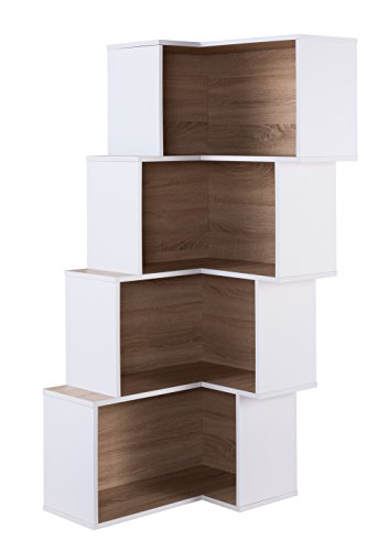 - HOMES: Inside + Out IDI-161788 Marco Corner Bookcase, White/Weathered Sand