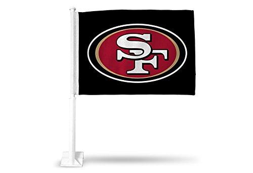 Rico NFL San Francisco 49ers Car Flag, Black, with White Pole