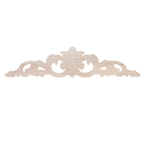 MUXSAM 1Pc Long Wood-Carved Decal Corner Appliques Frame Doors Furniture Woodcarving Decorative Wooden Craft 20x5cm