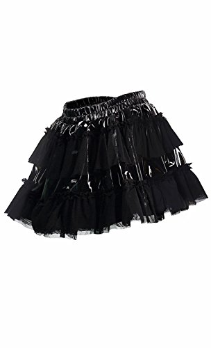 Gaze Mini Femmes Top Encolure Crop Awake Set Noir PVC Jupe Jupe XntdYqdw