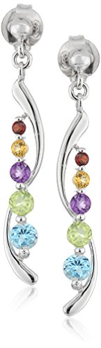 Stone Earrings Peridot (Sterling Silver Multi-Gemstone Drop Earrings)