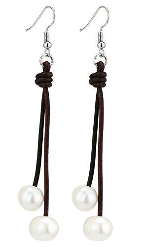Aobei Freshwater Cultured Pearl Dangle Earrings for Women Handmade 2 Strands Genuine Brown Leather Cord Hook Earring Brown Pearl Drop