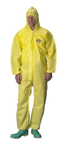 Lakeland ChemMax 1 Polyethylene/Polypropylene Serged Seam Disposable Coverall with Hood, Elastic Cuff, X-Large, Yellow (Case of 25)