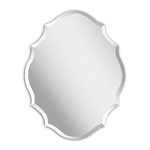 (MIRROR TREND Emma Shaped Frameless Beveled Mirror with Solid Core Wood Backing)