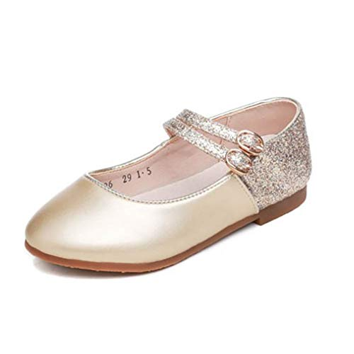GLYNEE Girl's Little Kid Front Bow Heart Rhinestone Mary Jane Ballerina Flat Shoes Gold ()