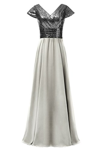 Dannifore Black Sequin Silver Chiffon Empire Waist Formal Evening