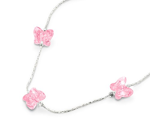 Animal Butterfly Necklace - Girls Butterfly Necklace Made with Original Swarovski Rose Crystal & 925 Sterling Silver, 16