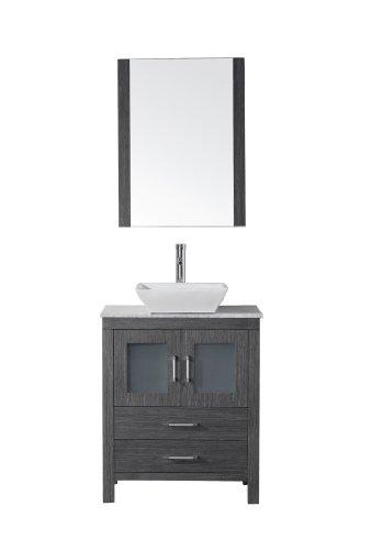 Virtu USA KS-70028-WM-ZG Modern 28-Inch Single Sink Bathroom Vanity Set with Polished Chrome Faucet, Zebra Grey