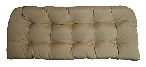 RSH DECOR Sunbrella Canvas Antique Beige Wicker Love Seat Cushion - Indoor/Outdoor 1 Tufted Wicker Loveseat Settee ()