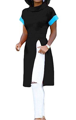 Jaycargogo Côté Féminin Fente Robe De Soirée À Manches Courtes Mini-robes Noires