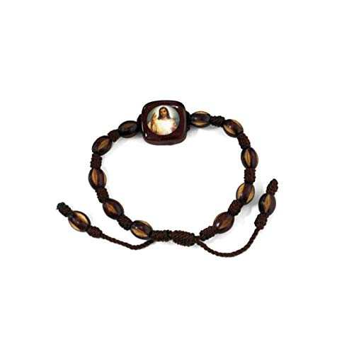 Catholic & Religious Gifts, DIVINE MERCY WOOD BRACELET HAND MADE/STRING ()