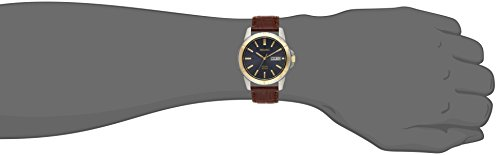 Seiko Men SNE102 Stainless Steel Solar Watch with Brown Leather Strap