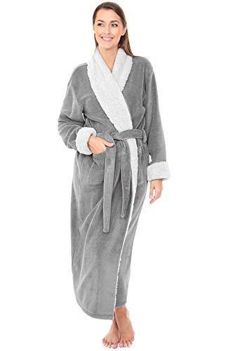 Alexander Del Rossa Women's Warm Fleece Robe, Long Plush Sherpa Bathrobe