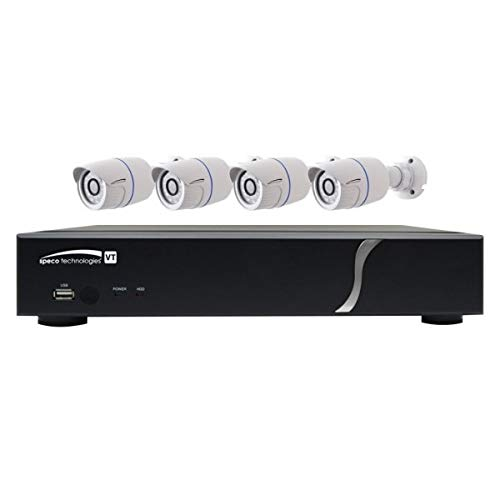 SPECO Technologies | ZIPT84B2 Digital Video Recorder and Camera Kit, 8-Channel Video Input, 4 HD-TVI 1080p Resolution IR Bullet Camera, 28 LED, H.264, NTSC/PAL Frame, 12 VDC, 5A, 2 TB