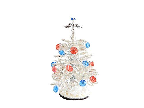 "3.2"" Tiny White Beaded Christmas Tree with Angel Topper & Ornaments. Holiday Office Gift Idea. Handmade Christmas Present. Stuffing Stocker"