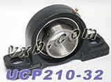 UCP210-32 Pillow Block Mounted Bearing, 2 Bolt, 2'' Inside Diameter, Set screw Lock, Cast Iron, Inch