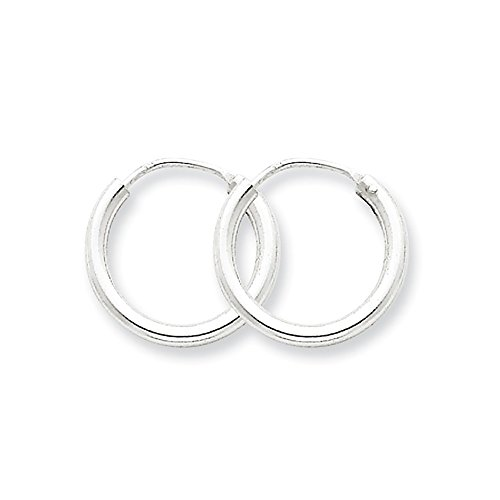 Designs by Nathan, Endless 925 Sterling Silver Seamless Tube Hoop Earrings, Many Size Choices (Regular 2mm x 15mm) (Hoop Earrings 2mm Tubing)