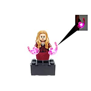3110Gnm8q2L. SS300 BlingBlingBrick - Scarlet Witch Wanda Minifigure with LED Light Up Chaos Magic