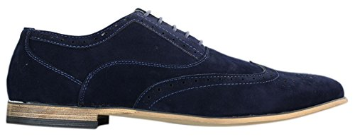 Navy Leather Red blue Brogues Retro Black Smart Suede Shoes Brown Laced Navy Mens Casual g4q6UwTx