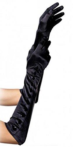 Leg Avenue Long Satin Gloves,One Size,Black Snap