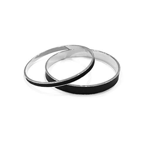 GETOFFMÉ Women's Enamel Bangles Silver Black