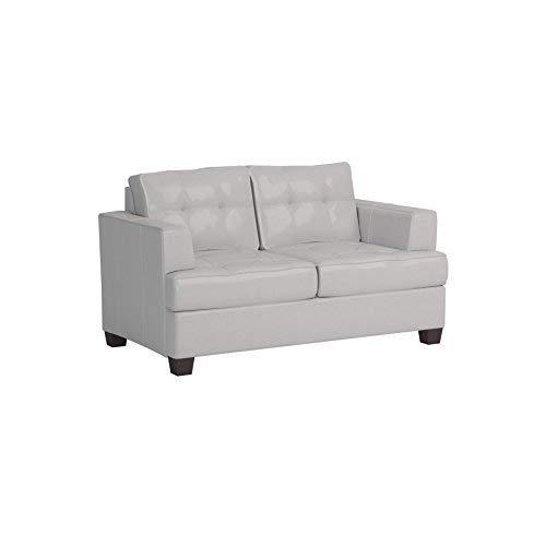 ACME Platinum White Bonded Leather Loveseat