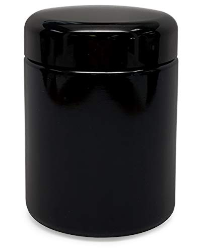 Leaf Lock Gear 250ml UV Glass Jar - Smell Proof, Air-Tight, Ultraviolet Storage Stash Jar with Wide Mouth Opening