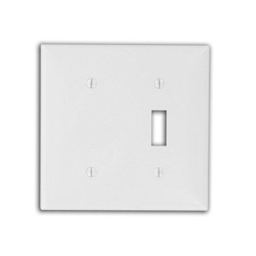 Leviton 80706-W 2-Gang, 1-Toggle 1-Blank Device Combination Wallplate, Standard Size, White