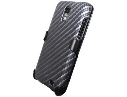 3-in-1 Combo Kit Holster Screen Protector Snap-on Face-In Rubber Coated Case Cover with Black Carbon Fiber Design Samsung Galaxy S 2 Skyrocket