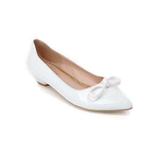 Amoonyfashion Mujer Pull On Acentuados Cerrados Del Dedo Del Pie Zapatos De Tacón Bajo Pu Solid Pumps Zapatos White