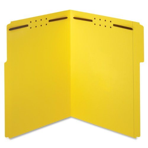 Globe-Weis/Pendaflex Fastener Folders, 1/3 Cut, Reinforced Tab, 2 Fasteners, Letter Size, Yellow, 50 Folders Per Box (22940)