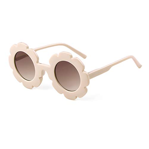 Kids Sunglasses Cute Vintage Flower Round Shaped Sunglasses for Boys Girls (Cream Frame/Brown Lens, 58)