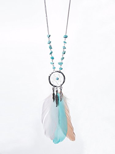 Dangling Feather Pendant Dreamcatcher Necklace