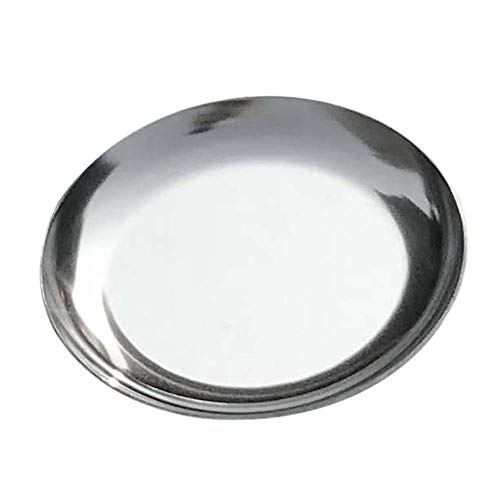 FREELOVE Stainless Steel Serving Plate, Fruit Food Storage Dish Salad Snack Bread Dessert Serving Platter Jewelry Display Trays (4 inches Round Silver) ()