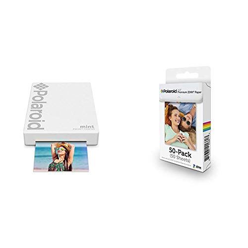 Polaroid Mint Pocket Printer - White with Polaroid 2x3ʺ Premium Zink Zero Photo Paper 50-Pack