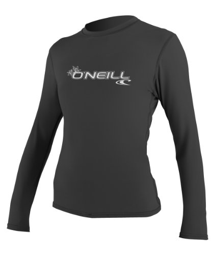 Oneill Women Wetsuits (O'Neill Wetsuits UV Sun Protection Womens Basic Skins Long Sleeve Rash Tee Sun Rash Guard, Black, X-Small)