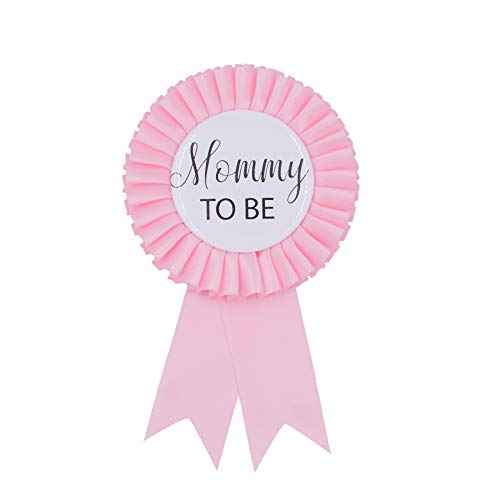 Baby Shower Mom Tinplate Badge Pin - Baby Shower Party Buttons New Mom Gifts Gender Reveals Party Favors Baby Girl Pink Rosette Button Baby Celebration (Light Pink) -