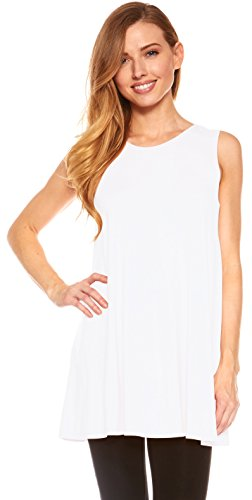 (Red Hanger Womens Sleeveless Tunics - Women Flowy Tunic Tank Tops for Leggings (White-XL))