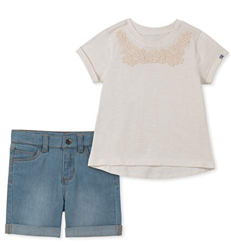 Calvin Klein Girls' Toddler 2 Pieces Shorts Set, Whisper White/Denim, ()