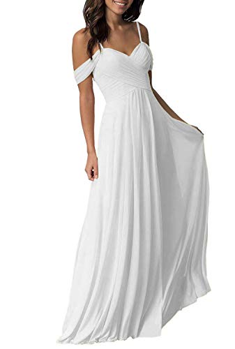 (Miao Duo Women's Long Sweetheart Prom Celebrity Party Dress Off Shoulder Straps Chiffon A line Formal Wedding Party Evening Celebrity Gowns Ivory 16)