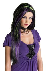 [Rebel Witch Wig Black/Purple/Green PROD-ID : 552539] (Witch Wig Stripes)