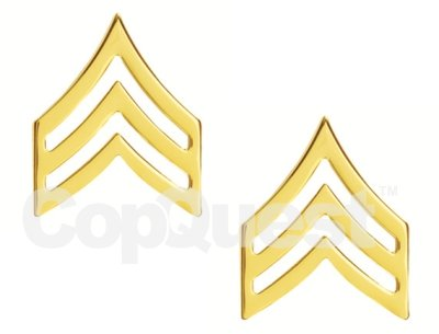 Rank Insignia - Chevrons - 3/4-inch - Sergeant - 3 Stripe - Pair - Gold Finish