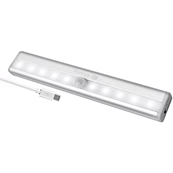 Closet Lights Motion Sensor 10 LED Portable Wireless Light Bar Rechargeable  Cabinet Kitchen Wardrobe Night Light
