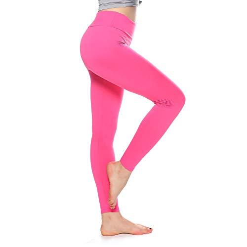 K&T Super Soft Buttery Leggings - High Waisted Slimming Leggings - Womens Tummy Control Pants (One Size, Fuschiat)
