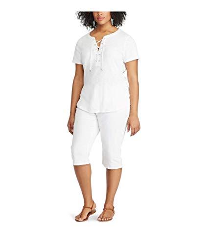 (Chaps Plus Size Cuffed Twill Skimmer Shorts, 22W)