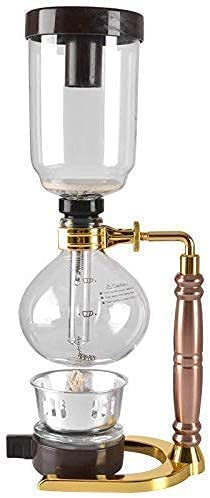 Coffee Machine, Japanese Style Siphon Coffee Maker Tea Siphon Pot Vacuum Coffee Maker Glass Type Coffee Machine Filter 5 Cups Gold, for Home Office
