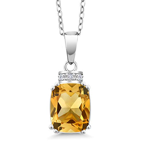 Gem Stone King 2.84 Ct Cushion Yellow Citrine 925 Sterling Silver Pendant With Chain