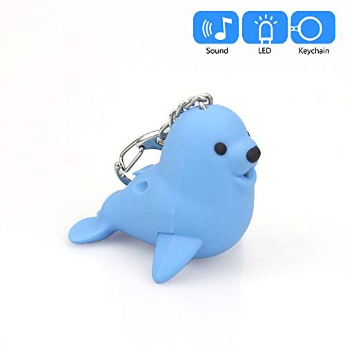 Hisoul Cartoon Seal Keychain - Mini Flashing LED and Realistic Sound Keyfob, Cute Doll Keychain for Car Keyring, Charm Gift (Blue) (Flashing Charm)